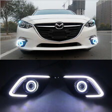 2x LED DRL fog lights turn signal + angel eyes kit For Mazda 3 AXELA 2014-2016
