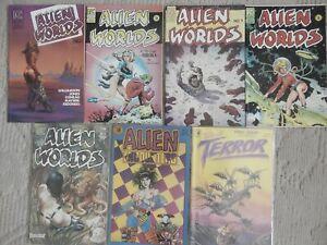 PACIFIC COMICS 7 ISSUE LOT ALIEN WORLDS #1-4,6,ALIEN ENCOUNTERS #5,TALES TERROR