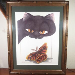 """Vintage J.S. Perry 1994 """"Eye to Eye"""" Limited Signed Print 151/800 Cat Butterfly"""