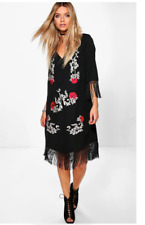 "NWT Black, Red & White BOOHOO ""Allie Embroidered Tassel"" 3/4 Sleeve Dress Size 8"