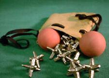 Folk Toys Classic Jacks Game 12 Pewter Jacks & 2 Balls in Leather Bag 357512