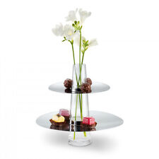 Philippi FONTAINE Etagere 2-Tiered Cake Appetizer Plate Tower Stand with Vase