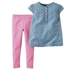 NWT Newborn Carter's 2 PC Short Sleeve Chambray Top & Pink Striped Leggings Set