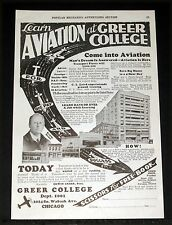 1929 OLD MAGAZINE PRINT AD, GREER AIR TRANSPORT COLLEGE CHICAGO, LEARN AVIATION!