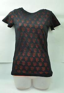 MLB San Francisco Giants Red Jacket Women Small Shirt Short Sleeve Tee Black