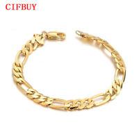 CIFBUY Herren Armband 21cm Lange Gold Farbe Edelstahl Schmuck Geschenk Pulseira