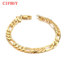Cifbuy 21cm Long Men's Bracelet Gold Color Stainless Steel Jewelry Gift Pulseira