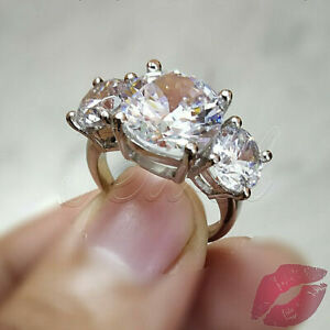 3.60Ct Round Cut Vintage Three Stone Diamond Engagement Ring 14k White Gold Over