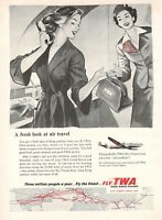 1954 RARE Advertising vintage TWA TRANS WORLD AIRLINES HOSTESS