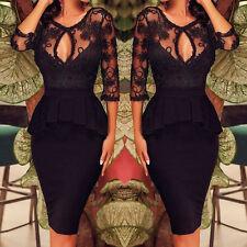 Womens Black Lace Bodycon Peplum Formal Cocktail Party Evening Midi Pencil Dress