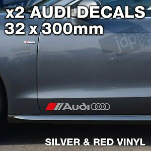 AUDI 2 x DOOR / SIDE SKIRT DECALS VINYL STICKERS - For all Models - SILVER & RED