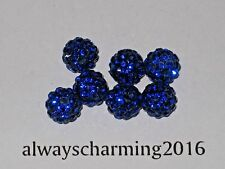 8MM ROUND RHINESTONE SAPPHIRE 7 BEADS FOR SPARKLE NECKLACE, EARRINGS BRACELET