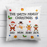 Personalised Santa Family Christmas Xmas Cushion Cover Pillow Case & Filling