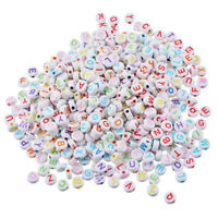 500PC Multi-color Round Acrylic Beads Carved Letters/Alphabets 7 x7mm,