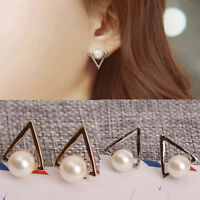1 Paire Filles Mode Imitation Perle Géométrique Triangle Clou Boucle d'oreille