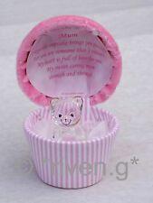 MAMMA Per Cupcake Ricordo Regalo Box Speciale Madre Teddy BEAR@22ct Rosa Mammy Cuore