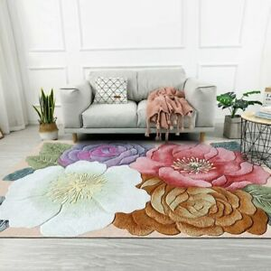 3D Flowers Printed Living Room Rugs Floor Mat Bedroom Bedside Non-Slip Carpets