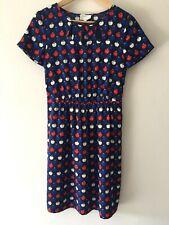 Hi There Karen Walker Apple Print Dress Size 8 Blue White Red Retro Style