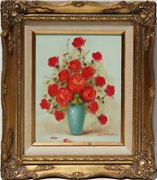 Oil Painting On Canvas, Still life, flowers, roses, signed Blaine, framed