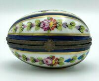 Vtg Limoges Horizontal Egg Trinket Box Hand Painted Floral Blue Artist Signed