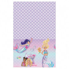 BARBIE Mermaid PLASTIC TABLE COVER ~ Birthday Party Supplies Decoration Cloth