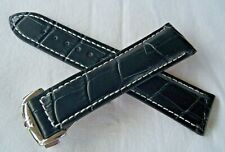 21mm BLACK &WH LEATHER STRAP &DEPLOY CLASP for OMEGA MOONWATCH/AQUA TERRA/DIVER