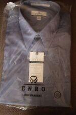 ENRO Mens micro nailhead Long Sleeve Button Front Dress Shirt blue nwt 32/33