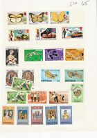 ANTIGUA PRE 1980's ALBUM PAGE OF 24 STAMPS