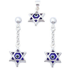 STAR OF DAVID w/ BLUE EVIL EYE .925 Sterling Silver Earring & Pendant Set