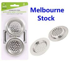 2 x Stainless Steel Kitchen Bathroom Sink Strainers Laundry Bath Drain 7.5cm