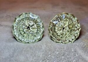 ANTIQUE 12 POINT MATCHING PAIR OF CRYSTAL GLASS DOOR KNOBS