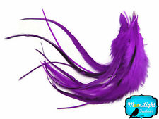1 Dozen - MEDIUM Solid Purple Rooster Hair Extension Feathers