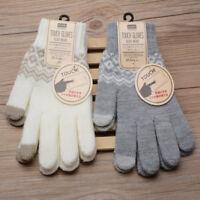 Hot Touch Screen Gloves Women Girl Stretch Knit Mittens Winter Warm Gloves