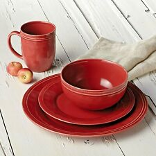 16 Piece Dinnerware Set Cranberry Red Stoneware Serving Dish Plate Bowl Mug