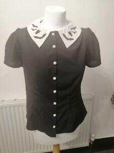 Hell Bunny Full Moon Bat collar shirt blouse M 10 12 Gothic Halloween Alt Wicca