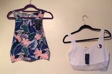 BNWT 2 FITTED STRETCH CROP TOPS SIZE 14 /M SUMMER BEACH HOLIDAYS
