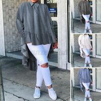 Size Women Cotton Baggy Tops Ladies Back Button Casual Tunic T Shirt Blouse 8-26