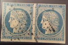 France N° 4 25 c Bleu Clair En Paire Oblitéré TB Cote 130€ +