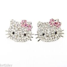 * HELLO KITTY * SPARKLING RHODIUM PLATED CRYSTAL Stud Earrings with PINK BOWS