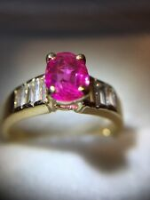 Estate 14k Gold Ring-0.80 ct. Natural Fine Ruby & 0.42 ct. Diamonds, 5.25mm size