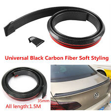 4.9ft/1.5M Carbon Fiber Soft Rubber Car Rear Roof Trunk Spoiler Wing Lip Sticker