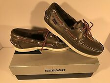 Sebago Mens Moccasin Deck Shoe - Docksides - Moss Green Leather B72786 Free Ship