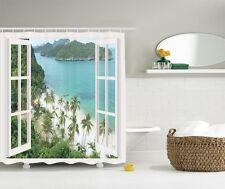 Palm Trees Ocean View Shower Curtain Paradise Sandy Beach Mountains Bath Decor