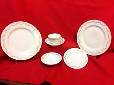 Pink Floral and Green Garland Gold Rim Pattern Fine China 65pc Set Austria