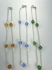 """Sterling Silver .925 Crystal Bicone Crystals 9 1/2"""" Anklets Ankle Bracelets"""