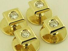 100% Natural Diamond 4 Tuxedo Stud 3/4CT Total Carat 14K Yellow Gold New