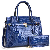 Dasein Women Handbag Croco Faux Leather Large Work Tote Purse w/ Matching Wallet