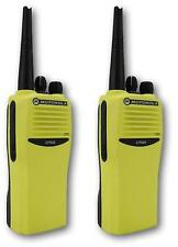 MOTOROLA CP040 UHF 4 WATT TWO WAY WALKIE-TALKIE RADIOS x 2 HI-VIZ YELLOW