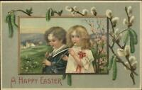 Easter - Sweet Boy & Girl Playing Flutes Music c1910 Postcard