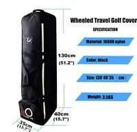 Golf Bag Carrier Wheels Rolling Padded Airplane Luggage Travel Cover Carry Black